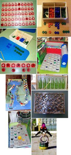 GAMES WITH BOTTLE CAPS: Juegos - Reciclando en la escuela.