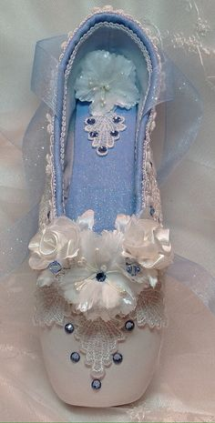 Nutcracker Clara nightgown decorated pointe shoe.READY TO SHIP.Nutcracker ballet gifts. Giselle. Cinderella. Custom colors available.