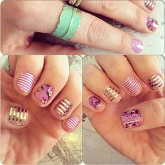 Jamberry mixed up mani. Orchid Bouquet, Orchid Skinny, Gold Stripe. Order at shouseholder.jamberrynails.net