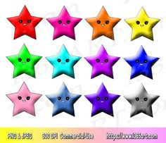 Kawaii Star Clipart Clip art, Clipart Stars, Scrapbooking, Party Invitations, Star Graphics, PNG JPEG, Download, Commercial-Use - by I365art