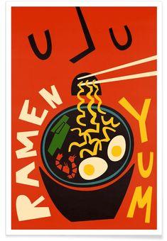 Yum Ramen - Fox & Velvet - Poster im Kunststoffrahmen Food Graphic Design, Food Poster Design, Graphic Design Posters, Art Design, Graphic Design Inspiration, Graphic Art, Cover Design, Event Poster Design, Vintage Graphic Design