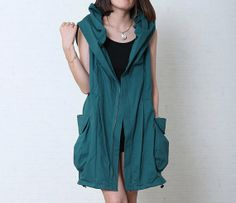 Green Blue Long Autumn Women Coat/Cotton Linen Long Loose Fitting Fall Clothes/Long Women Hoodies with Two Big Pockets