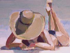 Original Painting...Sun on my toes 12 x 12 beach by houseofthesun