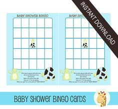 "Printable BABY SHOWER BINGO GAME! Simply print this out from your own printer or office store on card stock. Two sheets come to a page. Features a really cute green frog and a modern turtle design. Guest fill in what they think Mom-to-be will receive, then play ""Bingo"" as she opens presents. A neat idea to keep everyone engaged at the shower. Instant download means you can have this immediately after purchase!"
