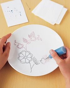 How to make your own dot-painted china. Think of all the old teapots, plates and canisters you could turn into beautiful gifts.