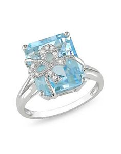 Blue Topaz Diamond Bow