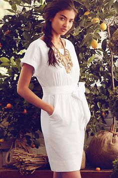 Ribboned Poplin Dress - anthropologie.com