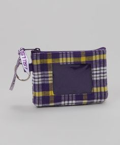 Take a look at this White & Purple Plaid Louisiana State Coin Purse by Pomegranate Collegiate on #zulily today!