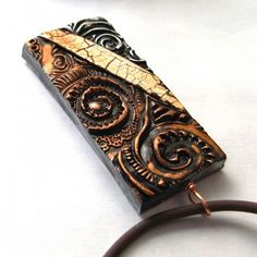 Polymer Clay Pendant Necklace Textured Bronze Copper and Silver  $24.50
