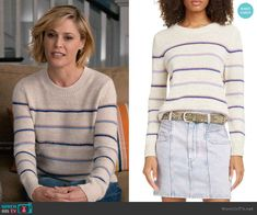 WornOnTV: Claire's striped sweater and navy quilted vest on Modern Family Modern Family Sarah Hyland, Modern Family Haley, Modern Family Episodes, Julie Bowen, Sarah Hyland Hair, Fashion Tv, Fashion Outfits, Suede Moto Jacket, Square Neck Top