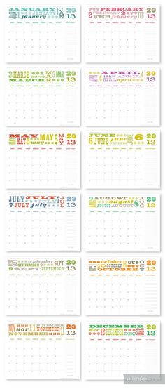 Our 12 Month Printable Calendar for 2013