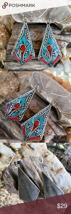 """Turquoise and coral boho earrings Beautiful drop earrings handcrafted with mosaics of blue turquoise and red coral inlaid in a Tibetan silver setting. Variations in natural stones and artisan's work make these earrings unique! Length (counting ear wires) 2.75"""" Jewelry Earrings"""