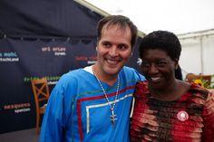 Festival author Sylvain Rivard with festival guest from USA Ann