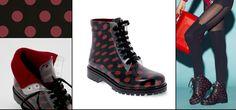 Short laced up boot with polka dot fantasy