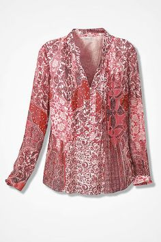 Paisley Paradise Popover Top, Red