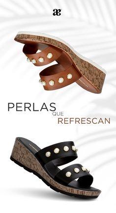 Detalles únicos que transforman nuestro #Look, para darle un toque #Chic a tu #Outfit con #Perlas Andrea Mexico, Espadrilles, Wedges, Sandals, Shoes, Fashion, Black And White, Shoe Collection, Pearls