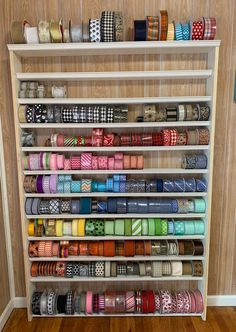 New Snap Shots big Ribbon Storage Concepts Involving many of the craziness of remodeling the kitchen at home, I have been previously working aw Craft Ribbon Storage, Ribbon Organization, Craft Room Storage, Craft Organization, Organizing Ideas, Art Storage, Paper Storage, Closet Organization, Ribbon Holders