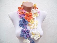 Handmade crochet Lariat Scarf  Yellow Lilac Blue Orange by nurlu, $20.00