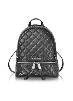 Michael+Kors+Rhea+Zip+Black+Quilted+Leather+Medium+Backpack