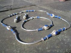 Lapis Lazuli Necklace Bracelet and Earring by TheRealCrystalCrow, $80.00