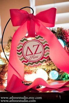 Sorority Christmas Ornament for Delta Zeta with Sorority Letters for Big Little. $9.50, via Etsy.