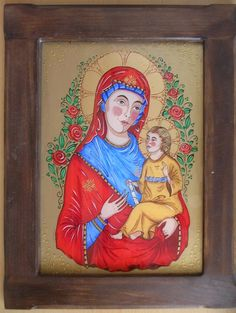 Tatiana Homolayova/ Panna Mária/ reverse-painted glass/ podmaľba na sklo/ Madonna, Religion, Mexican, Princess Zelda, Glass, Painting, Fictional Characters, Saints, Paintings