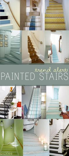 Decor Hacks : painted stairs ideas – Small Hallways -Read More – Bright Painted Furniture, Balustrades, Banisters, Stair Makeover, Small Hallways, Painted Stairs, Stair Storage, Fixer Upper, Home Projects