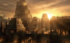 city, Prince of Persia, sunlight, artwork, Babylon, Raphael Lacoste, Prince of Persia: The Sands of Time - wallpaper