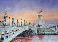 Pont du Alexandre III, (Paris - France) aquarelle 55 x 38, Fabriano 300 gr, original: 600 Euro, Exclusive high end imprint on aquarelle paper - 100 Euro Alexandre Iii, 100 Euro, Bridges, Paris France, Taj Mahal, Travel, Life, Bridge Pattern, Watercolor Painting