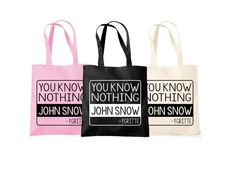Game Of Thrones Bag You Know Nothing John Snow by TheHenCompany