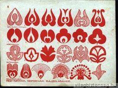 Hungarian Embroidery Patterns motívumok (Hungarian) but could also apply to Scandinavian patterns. Hungarian Embroidery, Folk Embroidery, Learn Embroidery, Chain Stitch Embroidery, Embroidery Stitches, Embroidery Patterns, Stitch Head, Motif Art Deco, Scandinavian Pattern