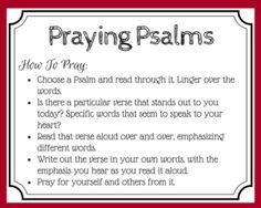 ✞❣ Praying Psalms - free printable prayer card