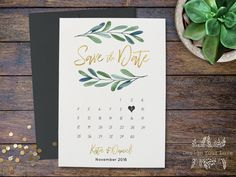 calendar save the date printable save the date template greenery wedding invitation save our date olive leaf botanical leafy invitation #GB2 by DesignYourLove on Etsy https://www.etsy.com/uk/listing/564881793/calendar-save-the-date-printable-save