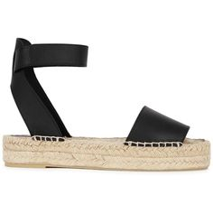 Vince Womens Espadrilles Vince Edie Black Leather Espadrille Sandals (€270) ❤ liked on Polyvore featuring shoes, sandals, ankle tie sandals, espadrille sandals, open toe sandals, black ankle strap sandals and leather shoes