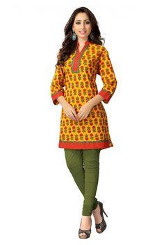 Casual Wear Cotton Printed Kurti in Yellow Colour...