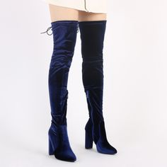 Step up your thigh high game in Annie luxe Velvet long boots.Featuring pure glam velvet all the way up to the thighs! The block heel mid heel means these are just the right height for day time wear as well as evening. Pair with your beloved t-shirt dress and long line jacket during the day and pump up the volume in the eve with a waist tie detail playsuit.  Heel Height: 4\