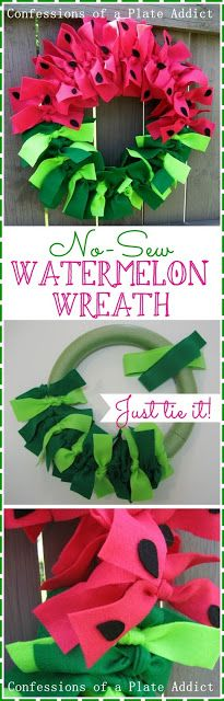 Easy No-Sew Watermelon Wreath…Just Tie It! - Diy and Crafts Cute Crafts, Crafts To Make, Crafts For Kids, Arts And Crafts, Diy Crafts, Neon Crafts, Wreath Crafts, Diy Wreath, Tulle Wreath