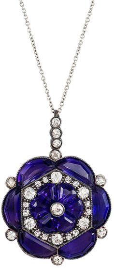 An Edwardian amethyst and diamond pendant at @KentshireJewels. Pendant is of flower cluster design in sterling silver and gold, on platinum chain. Via 1stdibs.