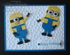 Minions Boy Card - Owl Punch, Stampin' Up! Window Frames Thinlits