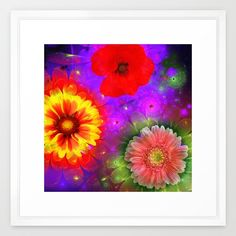 Summer flowers in a colourful fantasy garden Framed Art Print