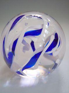 Hand Blown Art Glass Paperweight in Blue and by rikerartglass, $45.00