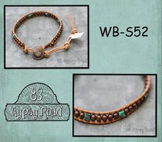 WB-S52 single beaded wrap bracelet  natural leather by 83GypsyRoad