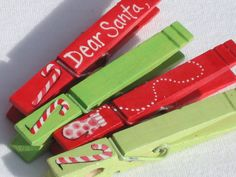 Make Christmas clothespins and have kids write notes to Santa throughout December! Pin them to a string of garland and hell collect them on Christmas Eve! Craft Stick Crafts, Christmas Projects, Holiday Crafts, Holiday Fun, Christmas Ideas, Handmade Christmas, Diy Crafts, All Things Christmas, Christmas Holidays