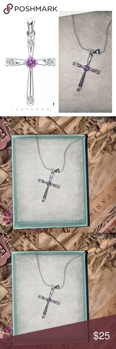 ♥️ Sterling Silver Cross Pendant NEW ♥️ Brand new sterling silver cross pendant with violet center crystal. The cross has four crystals. Very beautiful in person. Pictures don't do justice. Shipping may take 2-3 business days, please don't purchase if you don't agree. Thank you! Jewelry Necklaces