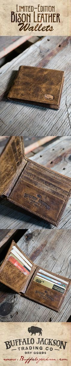 Handcrafted 100% authentic bison leather wallet. Our Limited Edition bison billfold leather wallet is built to stand the test of time.