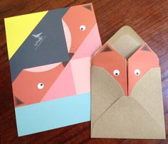Les petits papiers de Lollipop, des cartes origami en tête d'animaux.   Stationery paper from Lollipop designs, origami cards shaped in animal heads.