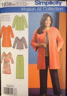 Simplicity 1938 Womens Sz AA 10 12 14 16 18 Khalia Ali Top Jacket Pants Pattern | eBay