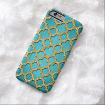 Chic Teal Turquoise Faux Gold Glitter Quatrefoil Pattern iPhone 6 Case