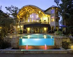 Unique House Design With Cool Swimming Pool and Modern Lamps Inside Also Ceramic Floor Modern Home Interior Design, Unique House Design, Small Swimming Pools, Residential Architect, Overland Park, Custom Home Designs, Design Firms, My Dream Home, Dream Homes