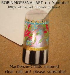 Nail-art by Robin Moses: mac eyeshadow nail, mac reflects pink, mac reflects gold, glitter nails, neon green nail, eyeshadow nail, pigment n...